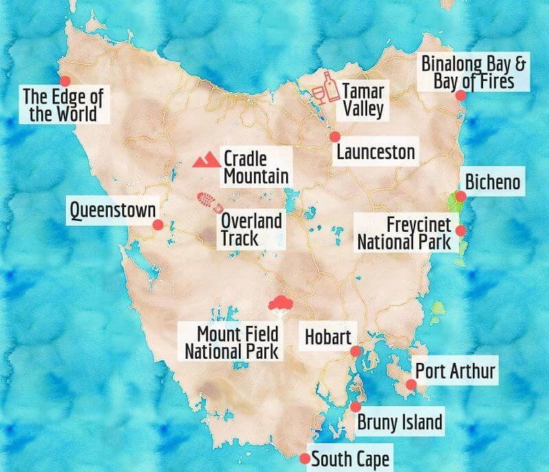 Carte des choses à voir en Tasmanie.