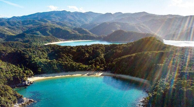 Vue aérienne de la côte de Tasmanie.