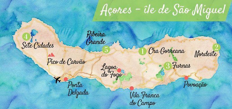 Carte touristique de l'île de Sao Miguel aux Açores.