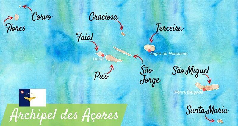Carte touristique des Açores.