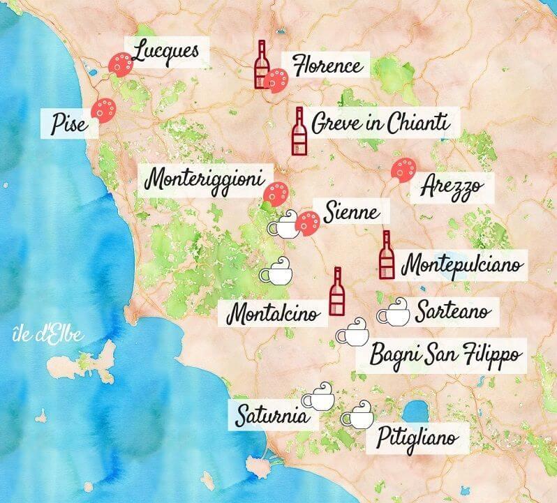 Carte touristique de la Toscane.