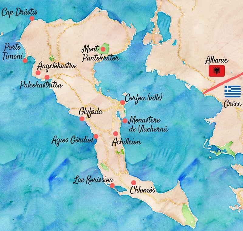 Carte touristique de Corfou.