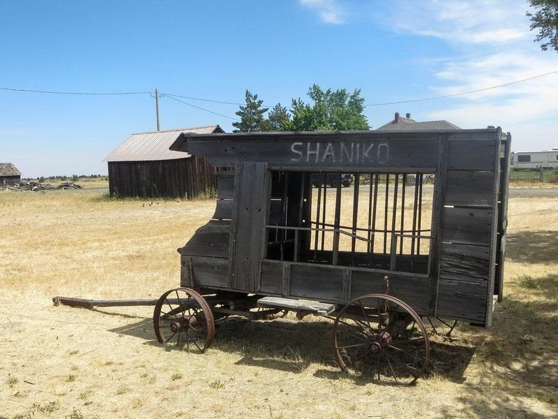 Charette de bois dans un village aux USA.