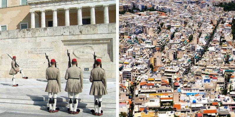 Vues de la vieille ville d'Athènes.