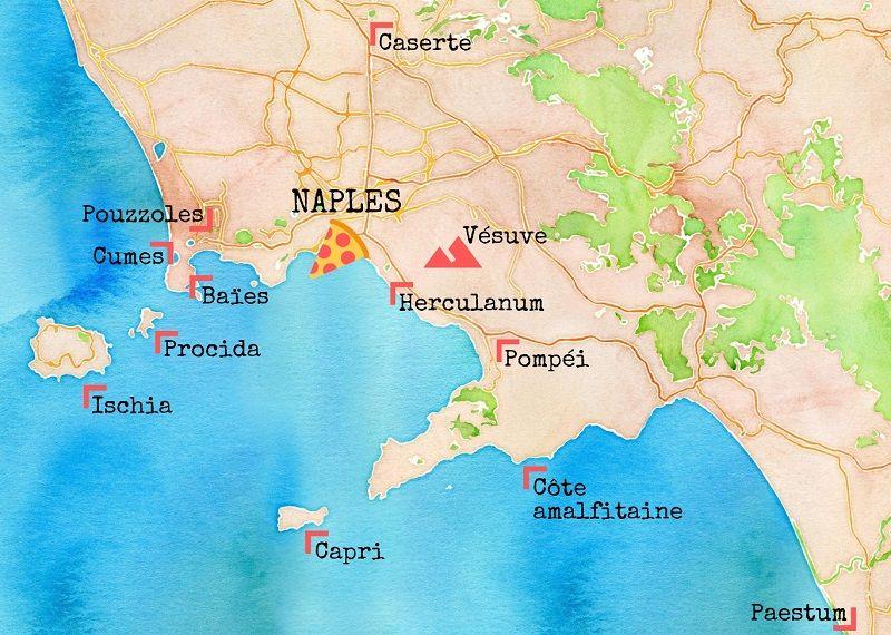 Carte des choses à voir autour de Naples.