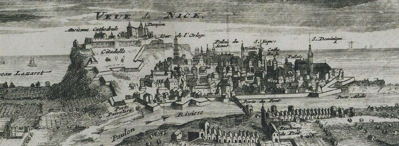 Gravure ancienne du château de Nice.