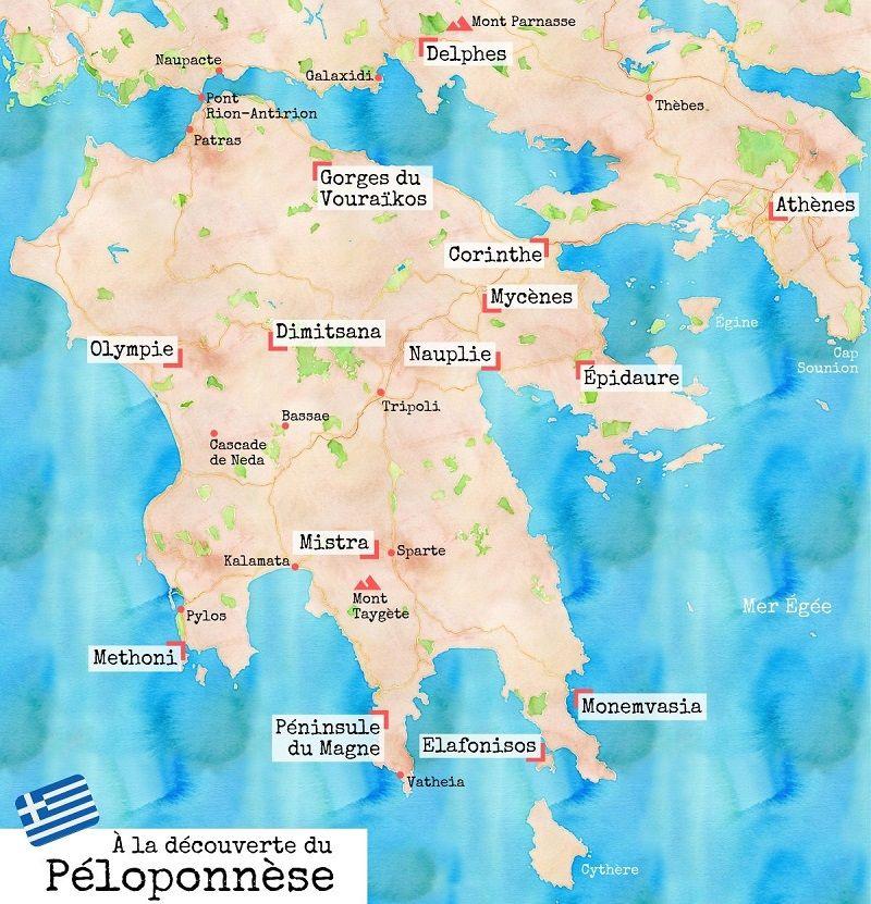 Carte des choses à voir dans le Péloponnèse.