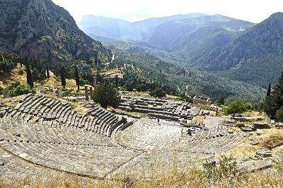 Vue du site archéologique de Delphes.