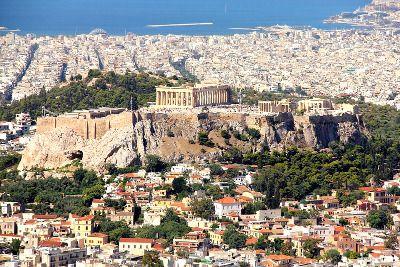 Vue aérienne d'Athènes.