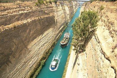 Vue du canal de Corinthe avec deux bateaux.