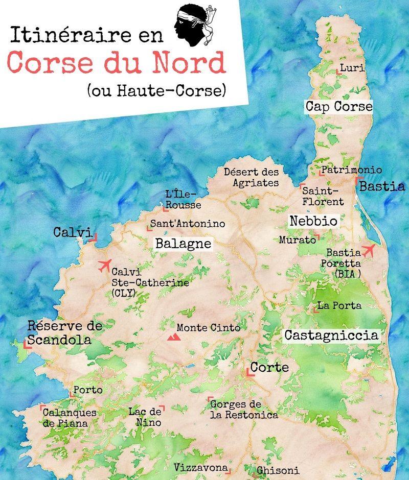 Carte des choses à voir et à faire en Corse du Nord.