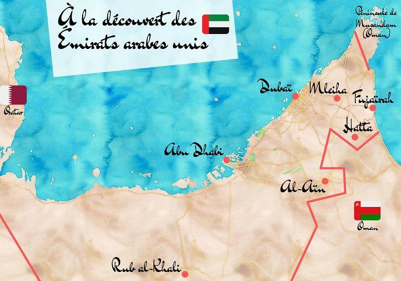 Carte touristique des Émirats arabes unis.