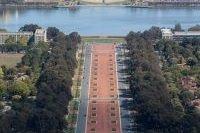 Vue aérienne sur l'allée centrale de Canberra